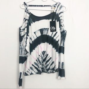 NWT Chaser Tie Dye Cold Shoulder Cutout Top